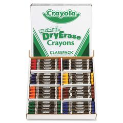 Crayola Dry-erase Washable Crayons Classpack - Red, Blue, Green, Yellow, Orange, Violet, Black, Brown - 96 / Box
