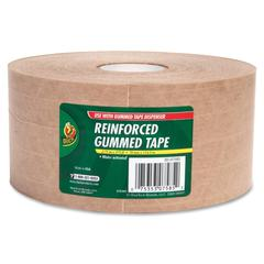 "Duck Brand 375' Reinforced Gummed Tape Roll - 2.75"" Width x 125 yd Length - Kraft - Kraft Paper Backing - Heavy Duty, Reinforced - 1 / Roll - Brown"