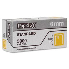"R23 No.19 Fine Wire 1/4"" Staples - 19/6 - 1/4"" Leg - 1/2"" Crown - for Fabric, Paper, Metal - Gray - 5000 / Box"