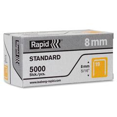 "Rapid R23 No.19 Fine Wire 5/16"" Staples - High Capacity - 19/8 - 5/16"" Leg - 3/8"" Crown - for Fabric, Paper - Gray - 5000 / Box"