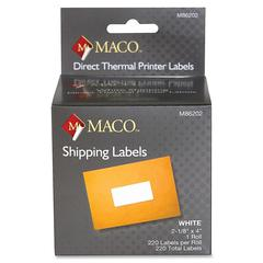 "MACO Direct Thermal White Shipping Labels - Permanent Adhesive - ""2.13"" Width x 4"" Length - 220 / Roll - Direct Thermal - Bright White - 220 / Roll"