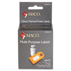 "MACO Direct Thermal White Multi-purpose Labels - Permanent Adhesive - ""1.13"" Width x 2"" Length - 220 / Roll - Direct Thermal - Bright White - 440 / Box"