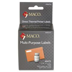 "MACO Direct Thermal White Multi-purpose Labels - Permanent Adhesive - ""0.44"" Width x 1.50"" Length - 300 / Roll - Direct Thermal - Bright White - 300 / Roll"