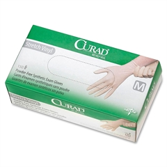 Stretch Non-Sterile Latex-Free Exam Gloves - Medium Size - Cream - Vinyl - Non-sterile, Stretchable, Latex-free, Powder-free, Beaded Cuff - 150 / Box