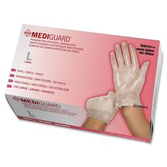 MediGuard Vinyl Latex-free Exam Gloves - Large Size - Clear - Vinyl - Beaded Cuff, Powder-free, Latex-free - 150 / Box