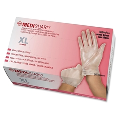 MediGuard Vinyl Latex-free Exam Gloves - X-Large Size - Clear - Vinyl - Beaded Cuff, Powder-free, Latex-free, Durable - 130 / Box