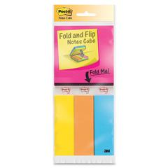 "Post-it Post-it Fold & Flip Notes Cubes and Page Markers - 300 - 3"" x 3"", 1"" x 3"" - Square, Rectangle - 50 Sheets per Pad - Unruled - Assorted Ultra - Paper - Recyclable - 6 / Pack"
