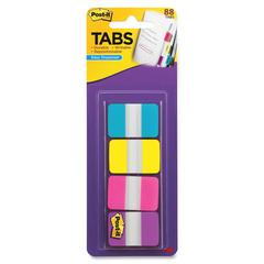 "Post-it 1"" Solid Color Self-stick Tabs - 88 Write-on Tab(s) - 1.50"" Tab Height x 1"" Tab Width - Aqua, Yellow, Pink, Violet Tab(s) - 88 / Pack"