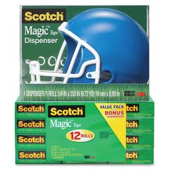 "Scotch Magic Tape Helmet Dispenser Pack - 0.75"" Width x 83.33 ft Length - Plastic - Writable Surface, Easy Tear, Photo-safe - Dispenser Included - 1 / Pack - Assorted"