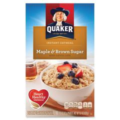 Quaker Oats Instant Oatmeal - Brown Sugar, Maple - Packet - 15.10 oz - 10 / Box