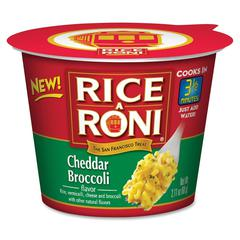 Rice-A-Roni Foods Single Serve Cup - Microwavable - Cheddar Broccoli - 1 Serving Cup - 2.11 oz - 12 / Carton