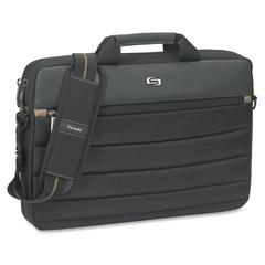 """Solo Carrying Case (Briefcase) for 15.6"""" Notebook - Black, Tan - Handle, Shoulder Strap - 11"""" Height x 15.8"""" Width x 2"""" Depth"""