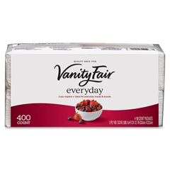 """Vanity Fair Everyday 2-Ply Paper Napkins - 2 Ply - 13"""" x 12.75"""" - White - Paper - Textured, Soft, Strong - For Dinner, Breakfast - 400 Sheets Per Pack - 2400 / Carton"""