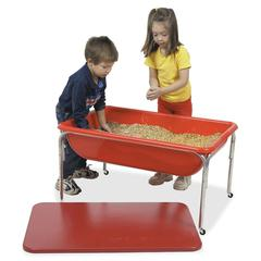 "Children's Factory 24"" Large Sensory Table and Lid Set - Rectangle Top - Four Leg Base - 4 Legs - 36"" Table Top Length x 24"" Table Top Width - 24"" Height - Red - Plastic"
