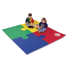 "Children's Factory Foam Square Puzzle Mat - School - 72"" Length x 72"" Width x 1"" Thickness - Square - Foam, Vinyl - Assorted"