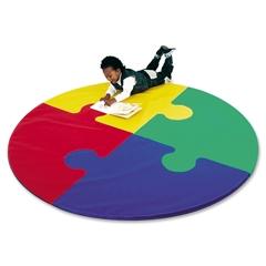 "Children's Factory Foam Circle Puzzle Mat - School - 72"" Length x 72"" Width x 1"" Thickness - Circle - Foam, Vinyl - Assorted"