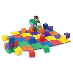 Children's Factory Patchwork Mat Matching Blocks Set - Skill Learning: Color Matching - 12 Pieces