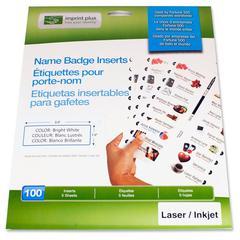 """Imprint Plus Laser, Inkjet Print Laser/Inkjet Badge Insert - Laser, Inkjet Print - 3"""" x 1"""" - No - 100 / Pack - White - Sheet size: 8-1/2"""" x 11"""""""