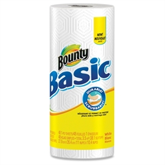 Bounty Basic 1-ply Paper Towels - 1 Ply - 48 Sheets/Roll - White - Strong, Soft, Durable - 30 / Carton