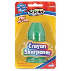 RoseArt Handheld Grip Crayon Sharpener - Handheld - 1 Hole(s) - Plastic - Assorted