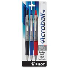 Pilot Acroball Pro Hybrid Ink Ballpoint Pen - Medium Point Type - 1 mm Point Size - Refillable - Assorted Advanced Ink Ink - Silver Barrel - 3 / Pack