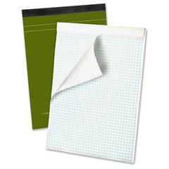 "Ampad Gold Fibre Premium Quad Ruled Pad - 80 Sheets - Printed - Wire Bound - Both Side Ruling Surface - 20 lb Basis Weight 8.50"" x 11.75"" - White Paper - Classic Green Cover - Micro Perforated, Chipbo"