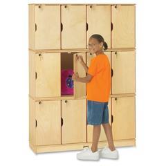 "Triple Stack 12-Sectn Student Lockers - 48.5"" x 15"" x 67"" - Stackable, Lockable, Sturdy, Key Lock, Kick Plate - Wood Grain - Baltic Birch Plywood"