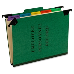 "Pendaflex Hanging Personnel Classification Folders - Letter - 8.50"" x 11"" Sheet Size - 2"" Expansion - 1"" Fastener Capacity - 1/3 Tab Cut - Top Tab Location - 5 Divider(s) - Pressguard - Green - Recycl"