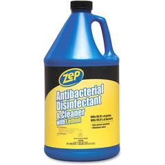 Zep Commercial Antibacterial Disinfectant and Cleaner - Liquid - 1 gal (128 fl oz) - Lemon Scent - 1 Each - Blue