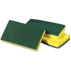 "Scotch-Brite -Brite Medium Duty Scrub Sponge - 3.6"" Width x 6.1"" Length x 700 mil Thickness - 60/Carton - Cellulose, Synthetic Fiber - Yellow, Green"
