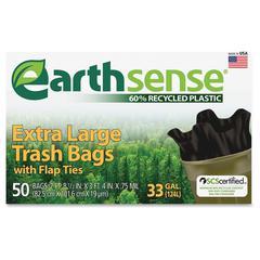 "Earth Sense 33-gal Extra Large Trash Bags - 33 gal - 32.50"" Width x 40"" Length x 0.70 mil (18 Micron) Thickness - Low Density - Black - 300/Carton - 50 Per Box - Can"