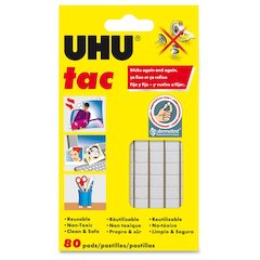Staedtler UHU Tac Adhesive Squares - Residue-free, Non-toxic, Reusable - 1 Pack - White
