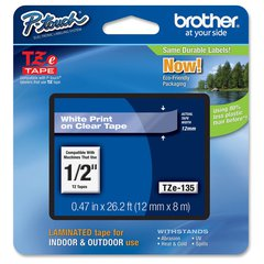 """Brother P-touch TZe Laminated Tape Cartridges - 1/2"""" Width - White, Clear - 2 / Bundle"""