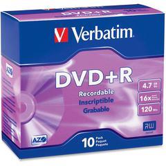 Verbatim 95097 DVD Recordable Media - DVD+R - 16x - 4.70 GB - 10 Pack Slim Case - 2 Hour Maximum Recording Time