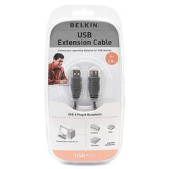 Belkin USB A-A Extension Cables - USB - Extension Cable - 6 ft - 1 Pack - 1 x Type A Male USB - 1 x Type A Female USB - Gray