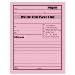 "While You Were Out Message Pad - 50 Sheet(s) - Gummed - 5"" x 4"" Sheet Size - Pink Sheet(s) - Black Print Color - 12 / Pack"