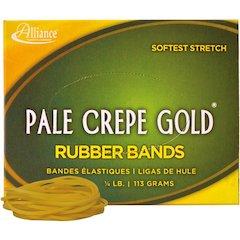 "Alliance Rubber 20169 Pale Crepe Gold Rubber Bands - Size #16 - 1/4 lb Box - Approx. 668 Bands - 2 1/2"" x 1/16"" - Golden Crepe"
