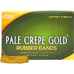 """Pale Crepe Gold Rubber Band - Size: #18 - 3"""" Length x 0.36"""" Width - 2205 / Box - Crepe - Natural"""