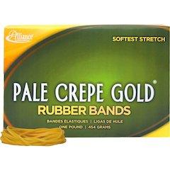 "Pale Crepe Gold 1lb Box Pale Crepe Gold Rubber Bands - Size: #18 - 3"" Length x 0.36"" Width - 2205 / Box - Crepe - Natural"
