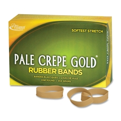 "Pale Crepe Gold 1lb Box Pale Crepe Gold Rubber Bands - Size: #82 - 2.50"" Length x 0.50"" Width - 320 / Box - Crepe - Natural"