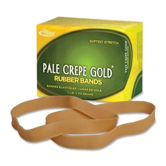 "Pale Crepe Gold Rubber Band - Size: #107 - 7"" Length x 0.63"" Width - 15 / Box - Crepe - Natural"