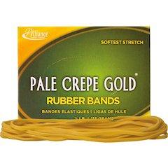 "Alliance Rubber 21409 Pale Crepe Gold Rubber Bands - Size #117B - 1/4 lb Box - Approx. 75 Bands - 7"" x 1/8"" - Golden Crepe"