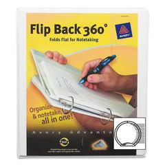 """Avery Flip Back 360 Economy View Binders with Round Rings - 1"""" Binder Capacity - Letter - 8 1/2"""" x 11"""" Sheet Size - 175 Sheet Capacity - 3 x Round Ring Fastener(s) - 4 Pocket(s) - Vinyl - Assorted - 1"""