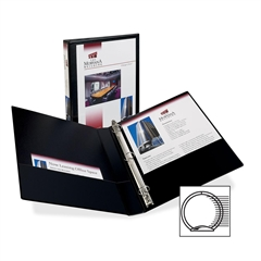 "Avery Showcase Reference View Binder - 1"" Binder Capacity - Letter - 8 1/2"" x 11"" Sheet Size - 175 Sheet Capacity - Ring Fastener - 2 Internal Pocket(s) - Black - Recycled - 1 Each"