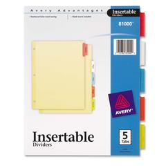 "Avery 3-Hole 5-Tab Dividers - 5 Tab(s) - 5 Tab(s)/Set - 8.5"" Divider Width x 11"" Divider Length - Letter - 3 Hole Punched - Buff Paper Divider - Assorted Tab(s) - 5 / Set"