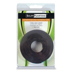 "Baumgartens Magnetic Tape - 1"" Width x 33.33 yd Length - Magnet - Adhesive Backing - Flexible - Black"
