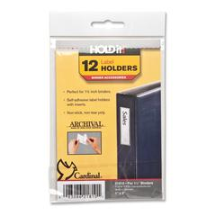"Cardinal HOLDit! Self-Adhesive Label Holders - 1"" x 3"" - 12 / Pack - Clear"