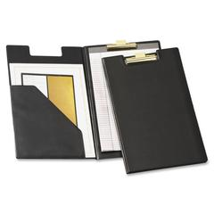 "Cardinal Sealed Vinyl Clip Padfolio - Legal - 8 1/2"" x 14"" Sheet Size - 100 Sheet Capacity - 1 Inside Front Pocket(s) - Vinyl, Polyvinyl Chloride (PVC) - Black - 1 Each"