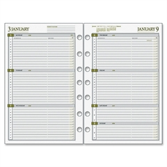 "Day Runner Dated Planner Refill - Julian - Weekly - 1 Year - January 2017 till December 2017 - 7:00 AM to 6:00 PM - 1 Week Double Page Layout - 5.50"" x 8.50"" - 7-ring - Paper"