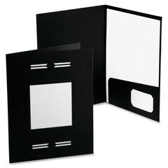 "Oxford LaserView Imperial Bus Single Pkt Folders - Letter - 8 1/2"" x 11"" Sheet Size - 2 Pocket(s) - Black - 10 / Pack"